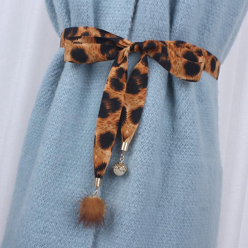 Moda leopardo impresión de tela cinturón para vestidos de pelo de conejo, nudo cuerda de cintura mujer damas ceinture femme