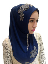 1 pc lace scarf Hat hijabs shawls Ladies muslim fashion wraps Embroidery crystals Convenient cap hat scarves/scarf