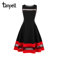 Tanpell Scoop Neck Homecoming Dress Black Sleeveless Draped Knee Length A Line Gown Women Party Short