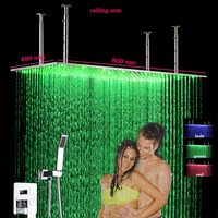 Горячая холодная Для ванной смеситель кран 400 х 800 настенное крепление Нержавеющаясталь водить Большой дождь Насадки для душа и Handshower скры