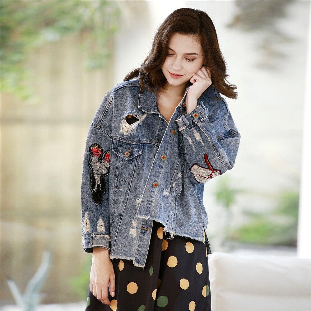 Jeans Designer Casual Femmes Stone Longues Paillettes Denim Printemps Boutique Blue Déchiré Broderie Cool Nouvelle Wash De 2019 Light Manches Veste Jacke qI1ZS5wz