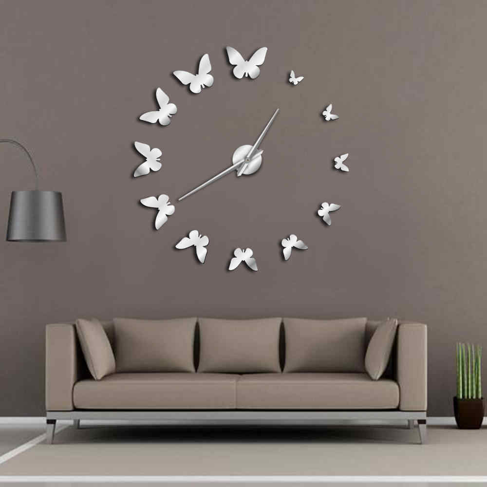 Decorative Mirror Wall Clock Nature Flying Butterflies Modern Design Luxury DIY Large Wall Clock Frameless Wall Watch Clock
