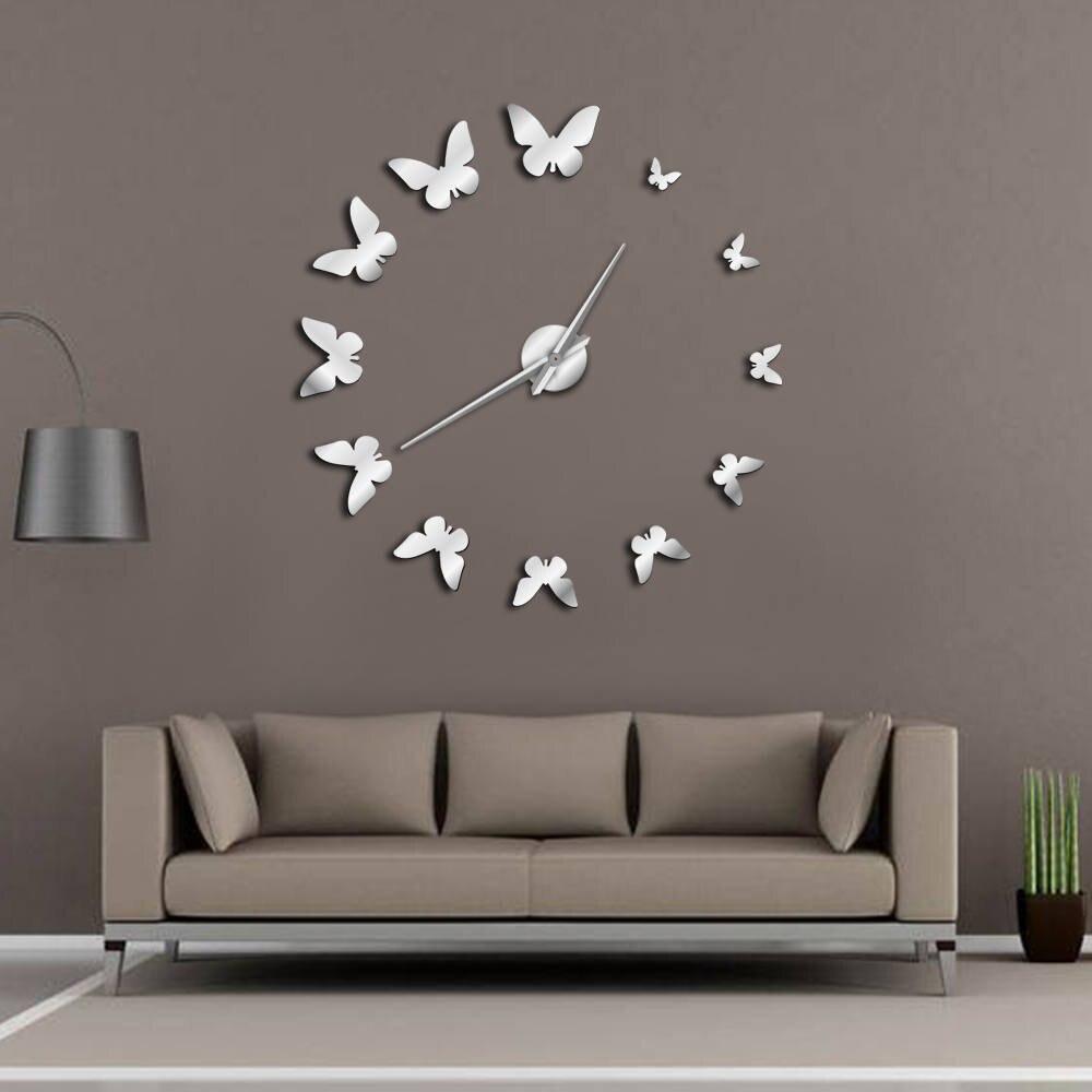 Decorative Mirror Wall Clock Nature Flying Butterflies Modern Design Luxury DIY Large Wall Clock Frameless Wall Watch Clock