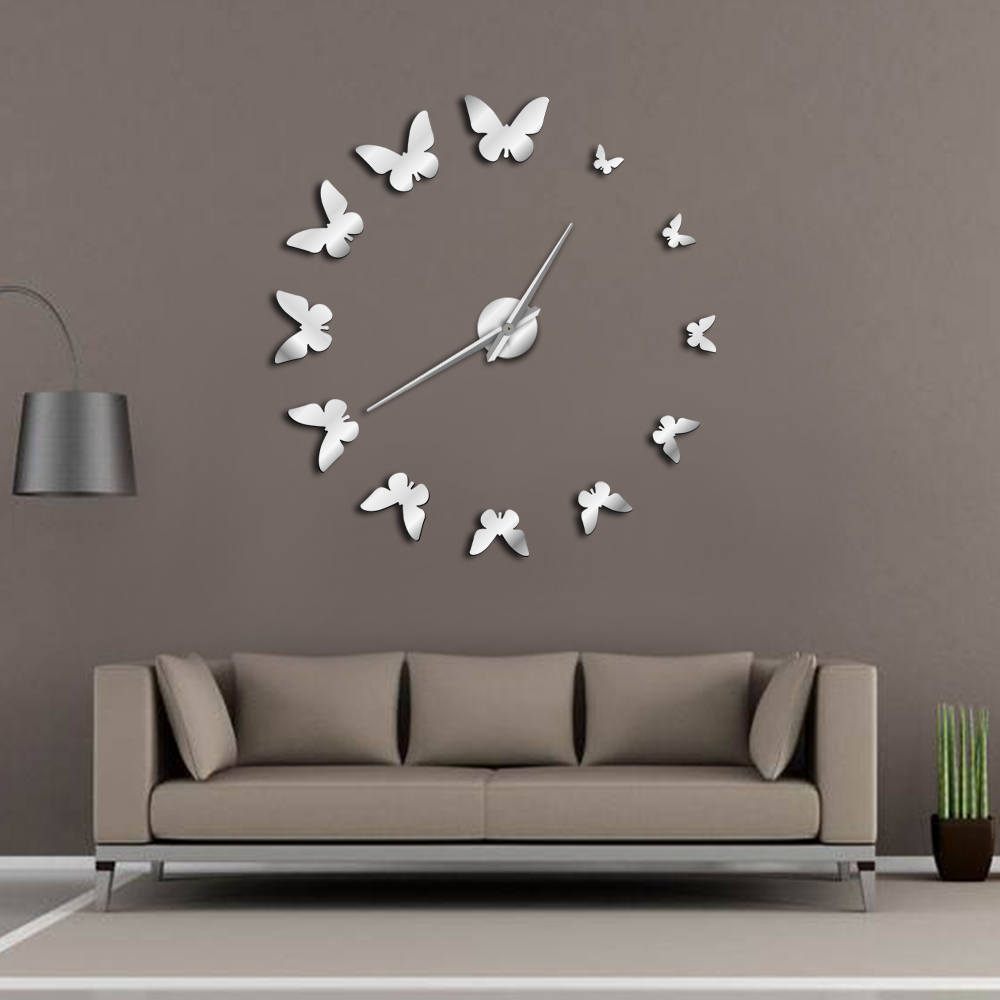 Decorative Mirror Wall Clock Nature Flying Butterflies ...
