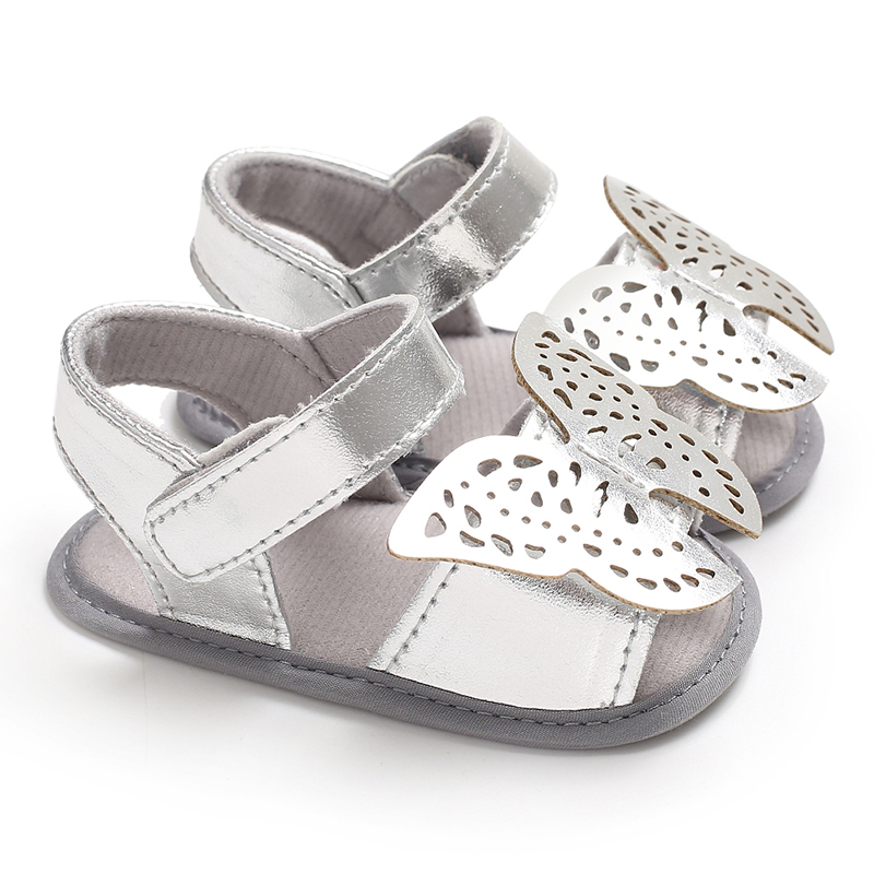Prewalkers Newborn Girl Shoes Silver Butterfly Open-toes Baby Moccasins Slippers Pram Footbed Sandals Baby Summer Shoes Booties
