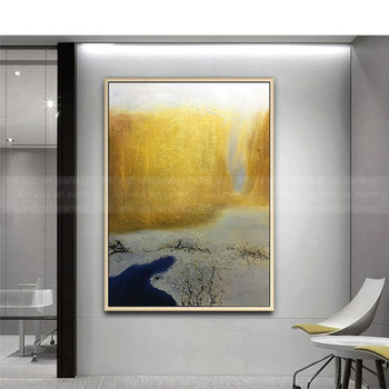Gold art canvas paintings Abstract decoration painting wall art pictures for living room home hallway wall decor acrylic texture