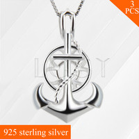 LGSY Women Jewelry Pearl Charm 925 Sterling Silver Necklace Pendant Fashion Anchor Cage Pendant