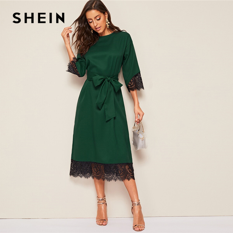 SHEIN Classy Abaya Green Eyelash Lace Hem Belted Tunic Long Dress Women Elegant Solid Summer Autumn Office Lady Straight Dresses