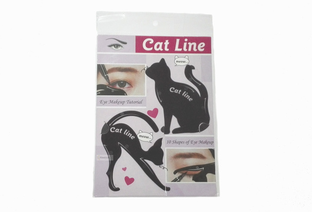 2pcs Cute Cat Eyeliner Stencil kit for eyebrows guide template Maquiagem eye shadow frames card makeup tools 1