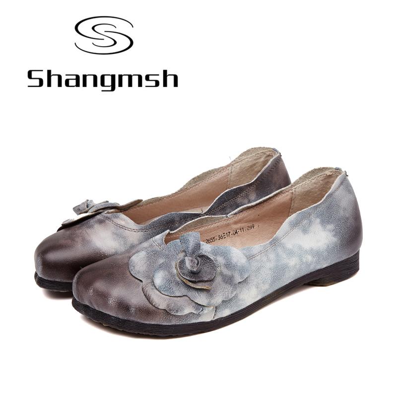 Shangmsh Casual Shoes Female Genuine Leather Loafers Shoes Nurse Fashion Slip On Shallow Flats Shoes Women Vintage Ladies Shoes minika women shoes flats loafers casual breathable women flats slip on fashion 2017 canvas flats shoes women low shallow mouth