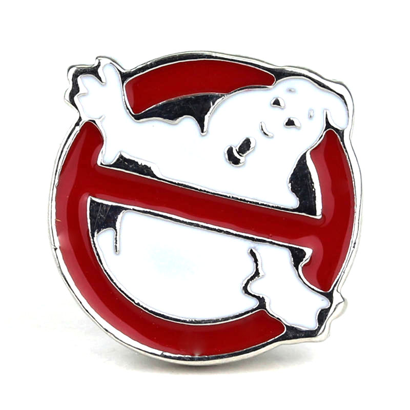 Ghostbusters Brooch Broches Silver Red White Halloween Ghost Ghostbusters Logo Enamel Pin Badge Brooches ...