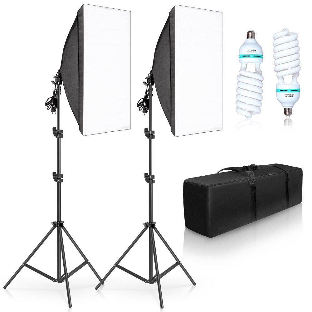 Photographie 50x70CM Softbox Kits D'éclairage Professionnel Système D'éclairage Avec 2 pièces E27 Photographique Ampoules Studio Photo Équipement