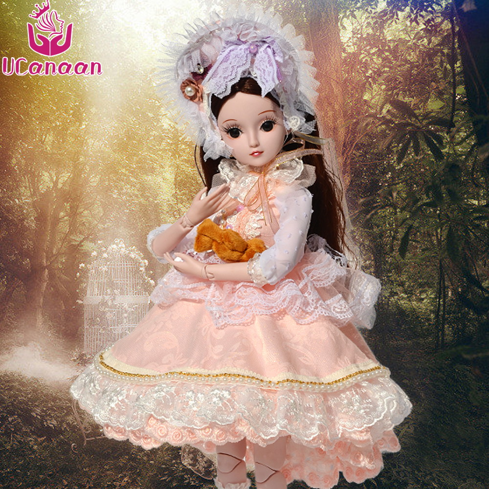 UCanaan 1/3 Girls BJD SD Doll Beauty Princess Toys For Children DIY 19 Ball Joints Dolls With All Outfit Dress Shoes Wigs Makeup 5cm pu leather doll princess shoes for bjd dolls lace canvas mini toy shoes1 6 bjd snickers for russian doll accessories