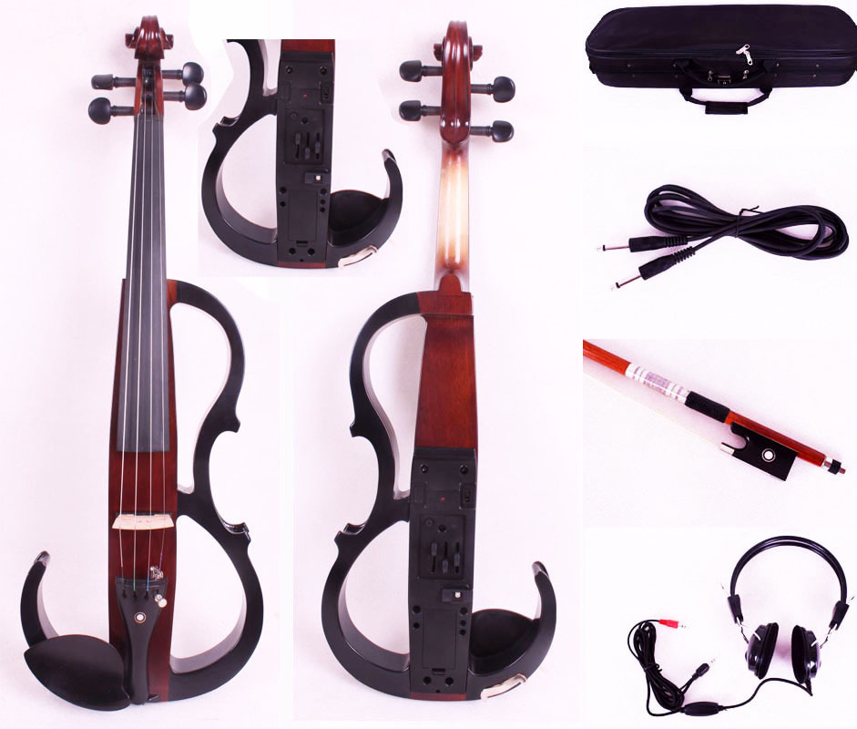 New 4/4 Electric Violin Solid wood Powerful Sound Big jack Small jack Master one 4 string 4 4 violin electric violin acoustic violin maple wood spruce wood big jack brown color