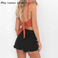 May Leaves Love 2017 Summer Sexy Solid Back Ties Backless Crop Tank Tops 6 Colors LR0086