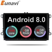 Eunavi 2 din 9 ''Android 8,0 4G Ram автомобилей Радио Стерео gps Navi для VW Passat B6 CC Поло Гольф 5 6 Touran Jetta Tiguan Magotan сиденье