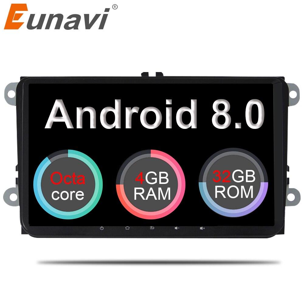 Eunavi 2 din 9 ''Android 8.0 4g RAM Voiture Radio Stéréo GPS Navi pour VW Passat B6 CC polo DE GOLF 5 6 Touran Jetta Tiguan Magotan Siège