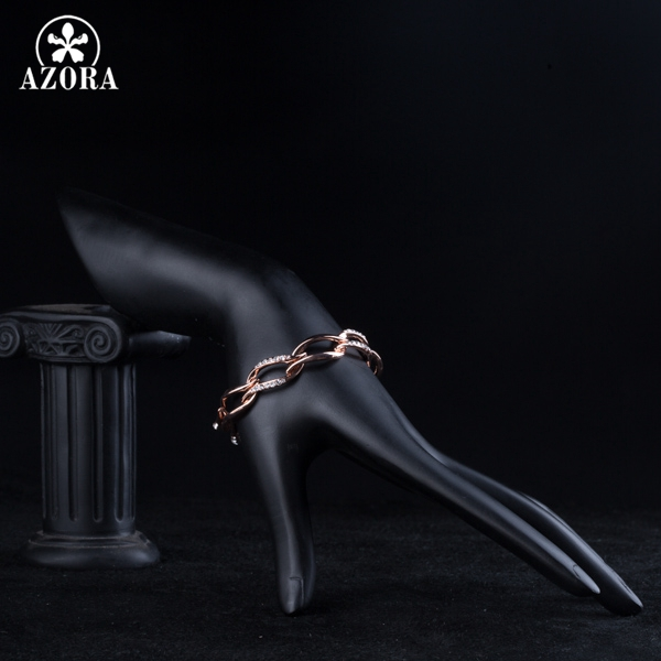 AZORA Latest Design Rose Gold Color Clear Stellux Austrian Crystal 8 Leaves Connected Bracelet TS0051