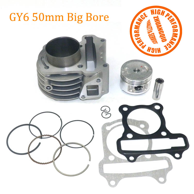 US $14 2 5% OFF|GY6 50mm Big Bore Kit Cylinder Piston Rings For Chinese GY6  50cc 4 Stroke GAS Scooter TAOTAO 100cc Racing-in Engines from Automobiles