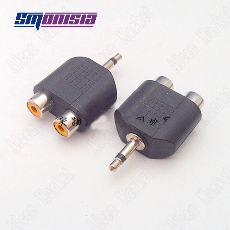 Audio Adapter 3.5mm Male Single Sound Channel Video Plug To 2RCA Female Microphone Socket