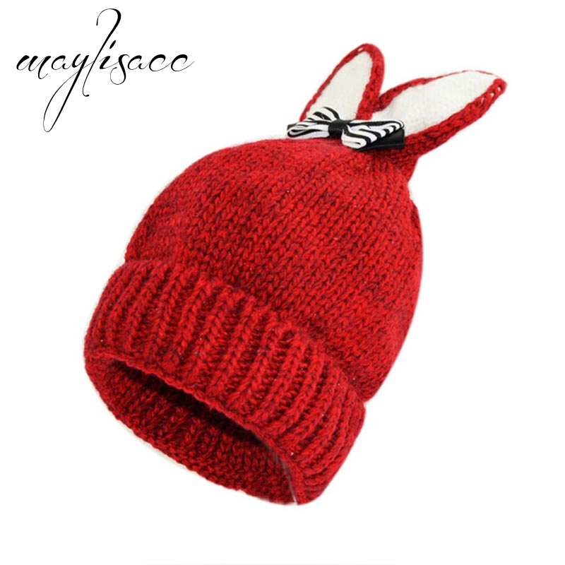 Bomhcs Cute Babys Cat Beanie 100% Handmade Knitted Kids Ears Hat For Kids Ages 3-8 Fast Color Girl's Hats Apparel Accessories