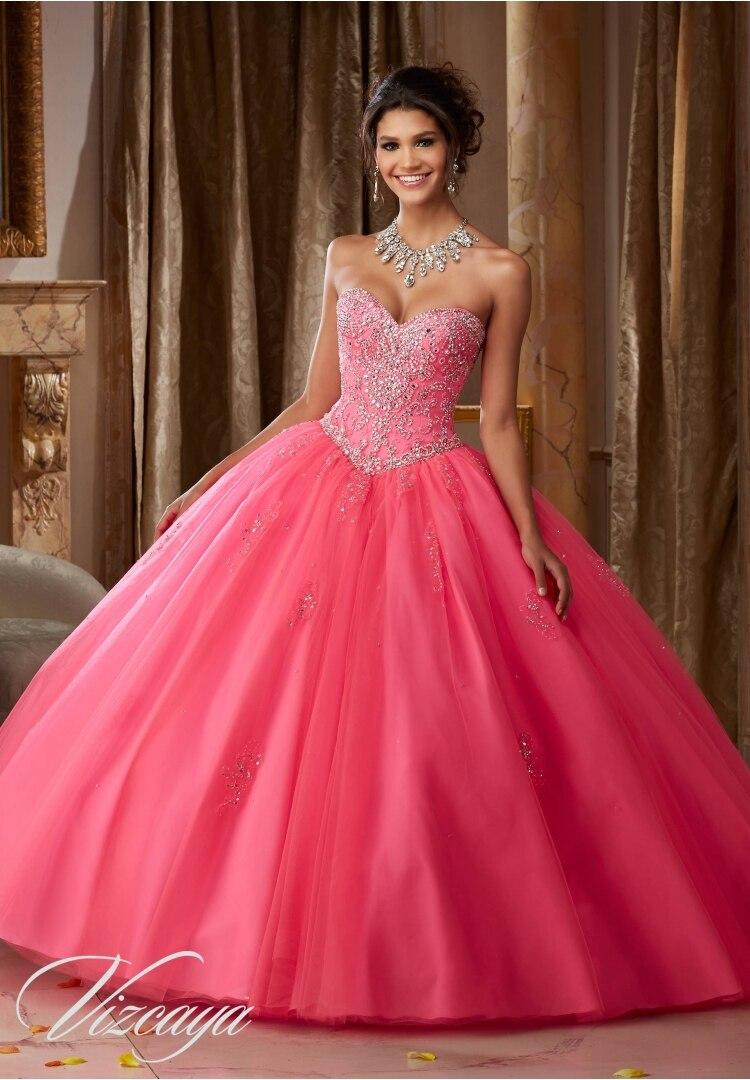Hot Pink Ball Gown Quinceanera Dress cheap Sweetheart Beading 15 ...