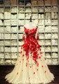Vestido Maxi 2017 de Las Mujeres Vestidos de Noche Largo Rojo Elegante Apliques Sheer Volver Piso-Longitud Flor Hecha A Mano Vestido Formal de 661435