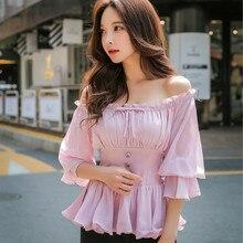 Dabuwawa Autumn Flare Sleeve Chiffon Blouses Women 2018 New Pink Ruffles Shirts Sweet Girl off Shoulder Elegant Blouse Top