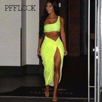 PFFLOOK One Shoulder Sexy Two Piece Set High Slit Maxi Dress Women Suit Party Club Suit Summer 2 Pieces Outfits Female