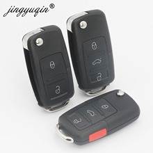jingyuqin No Blade 2/3/4 Button Remote Flip Folding Car Key Shell for VW MK4 Bora Golf 4 5 6 Passat Polo Bora Touran