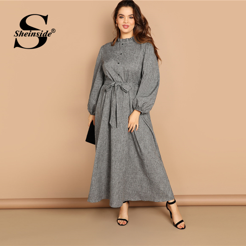 Image 5 - Sheinside Plus Size Casual Grey Ruffle Detail Dress Women Button Belted Shift Dresses Spring Elegant Stand Collar Maxi Dress-in Dresses from Women's Clothing