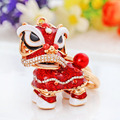 Chinese style lion dance keychain ancient mascot key chains fashion crystal animal keyring enamel key ring holder drop shipping