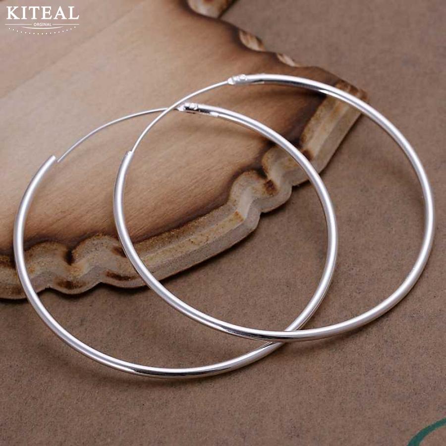 Limit Promotion Diameter 5CM Elegant Circular Smooth Hoop Earrings For Women Fashion Silver Plated Brinco De Argola Jewelry