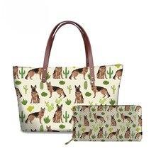 NOISYDESIGNS Women Handbag German Shepherd Cactus Printing Large Shoulder Bags for Ladies Top-handle Casual Tote Purse Girl