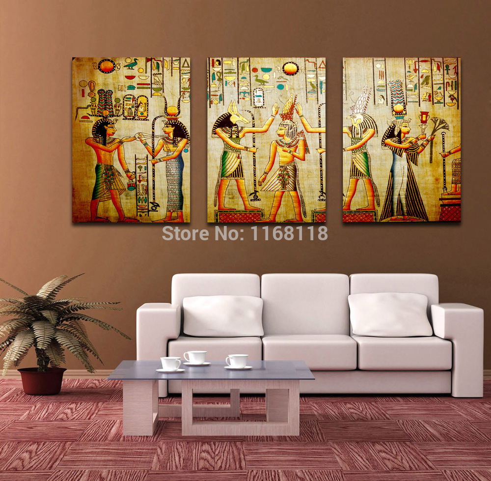 Free shipping triple abstract no frame picture egyptian for Living room 12x18