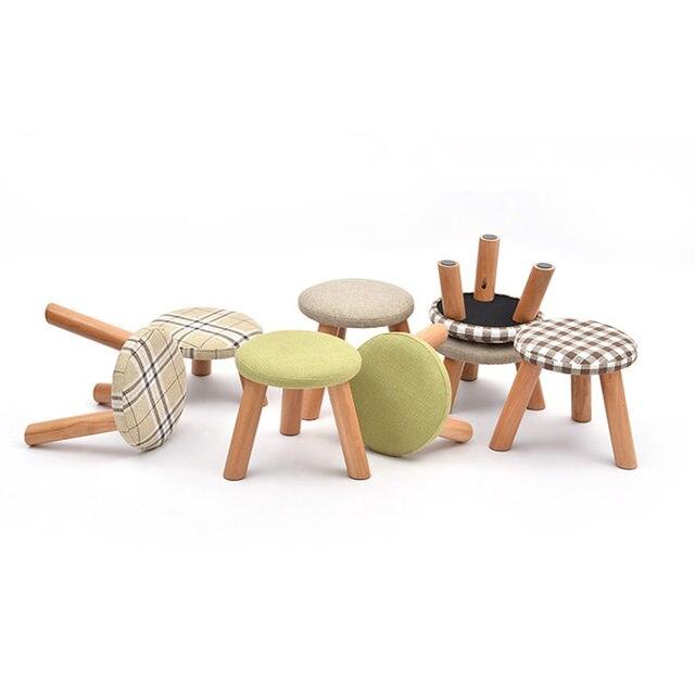 Garantizado 100% pequeños hongos taburetes y otomanas Pie de madera ...