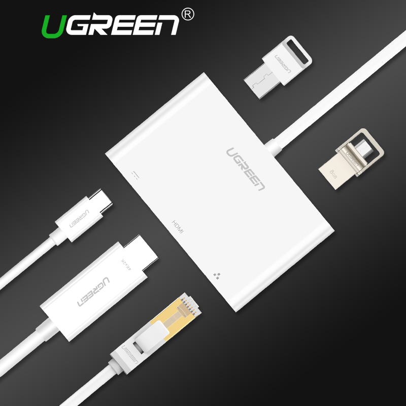 Ugreen 5 in 1 USB C HUB Type-C to HDMI VGA Ethernet Adapter with USB-C Power Delivery 4K Video for MacBook Pro USB 3.0 HUB usb adapter hdmi 4k usb 3 1 usb type c hub data syncing
