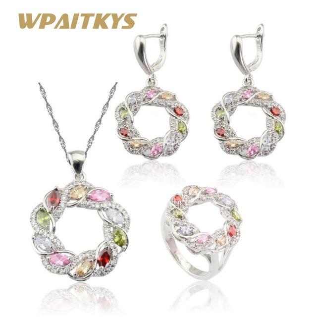 48145ba8f9d1 WPAITKYS Round Multicolor Zirconia Silver Color Jewelry Sets For Women  Necklace Pendant Earrings Rings Free Gift Box