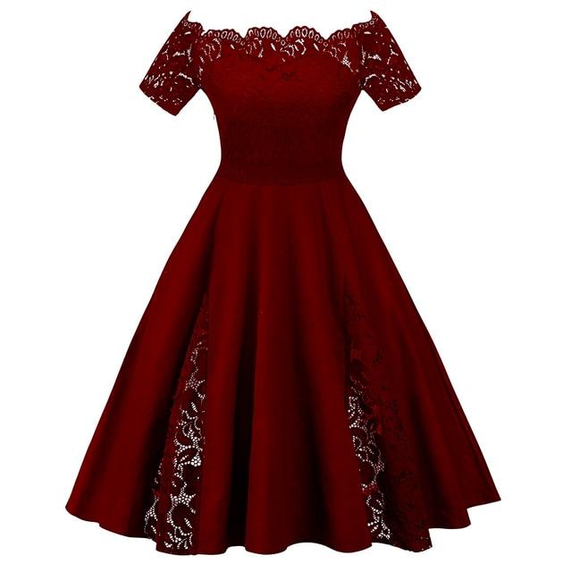 Gamiss Kobiety W Stylu Vintage Flare Dress Party Plus Rozmiar 5XL Panelu Koronki Off The Shoulder Suknia Szaty 2018 Retro Panie Sukienki vestidos - aliexpress