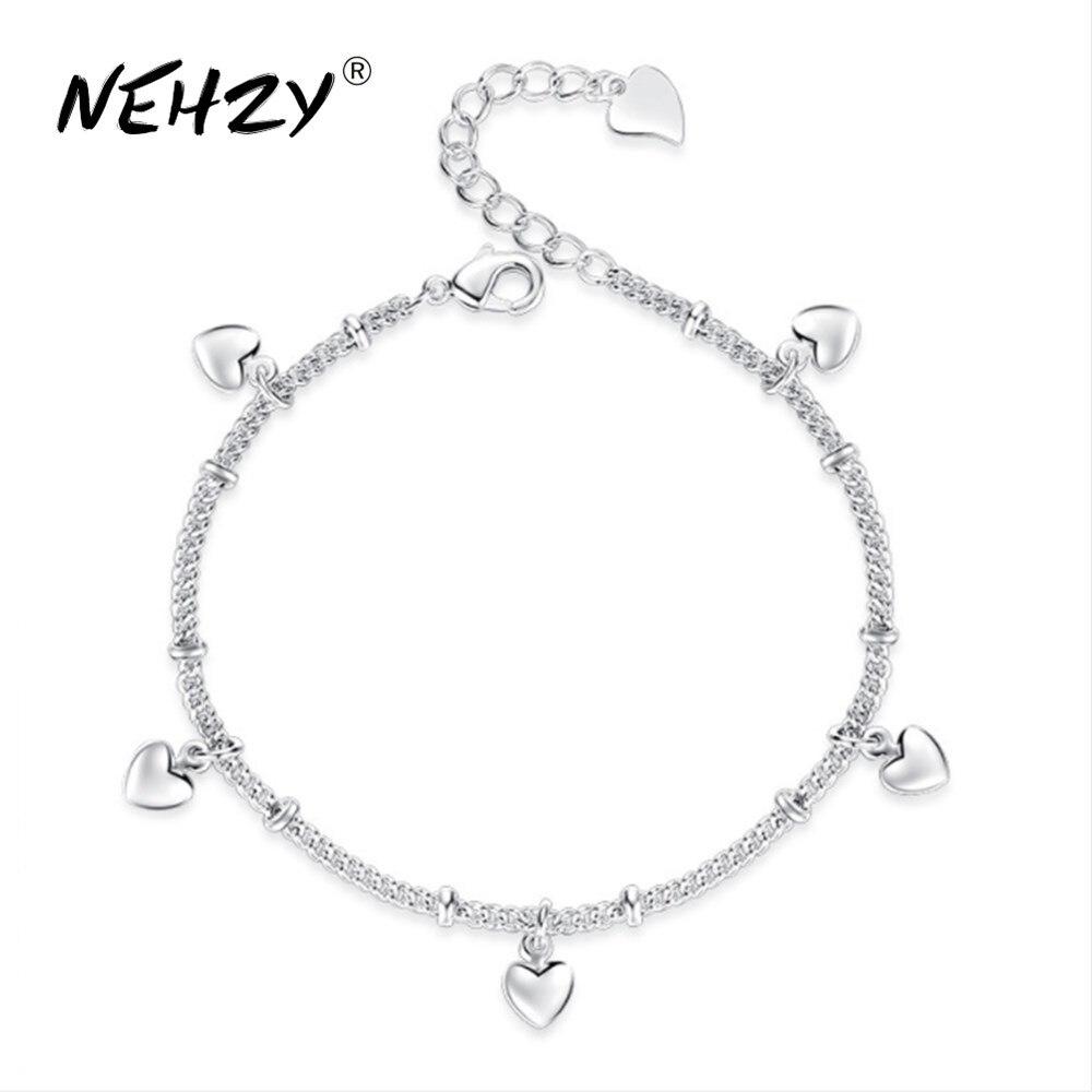 NEHZY 2018 neue damen mode herz-förmigen silber armband hohe qualität retro nette silber schmuck armband 17CM + 4CM