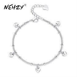 NEHZY 2018 new ladies fashion heart-shaped silver bracelet high quality retro cute silver jewelry bracelet 17CM+4CM