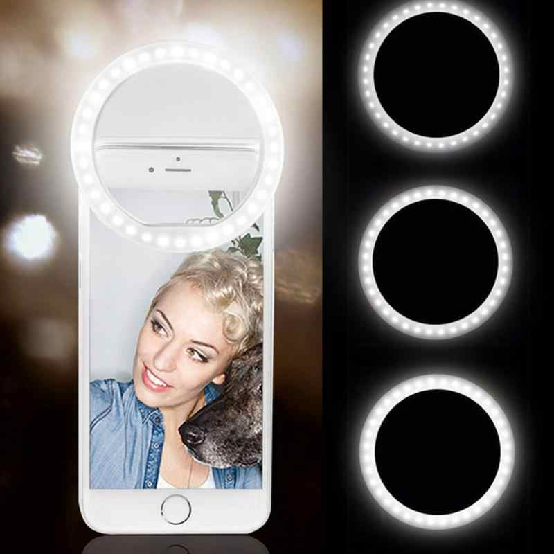 العالمي Selfie LED الدائري ضوء فلاش المحمولة الهاتف المحمول المصابيح Selfie مصباح مضيئة مشبك حلقي ل فون XR XS ماكس 8 7 6 زائد