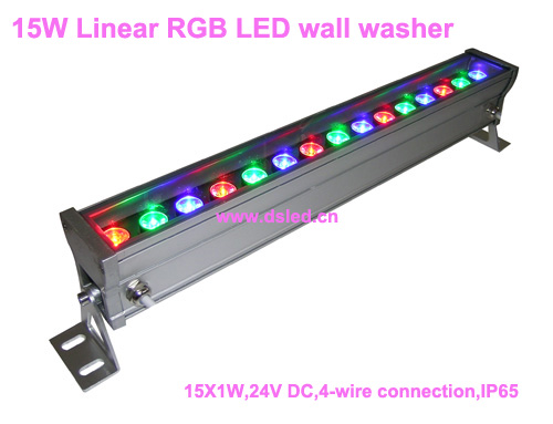 IP65,CE,good quality, high power 15W Linear RGB LED bar light,15W RGB LED wall washer,15*1W,24VDC,DS-T76-50cm-15W-RGB