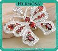 Hermosa Fire Garnet Vivid BUTTERFLY 925 Steling Silver Necklace Pendant