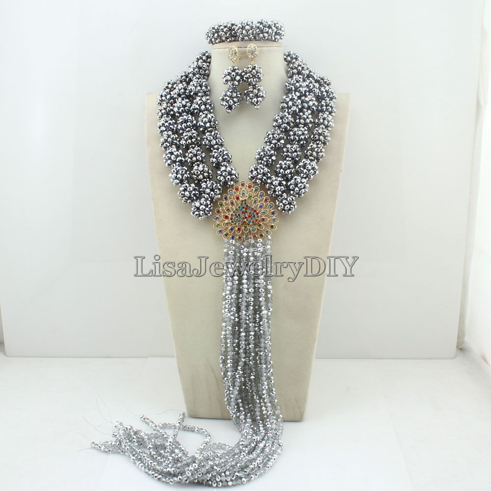 цена Silver Handmade African Beads Jewelry Sets Nigerian Wedding Bridal Beads Necklace Earrings Jewelry Sets HD4671 онлайн в 2017 году