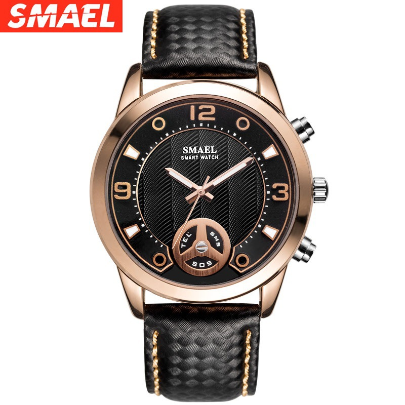 Fashion Smael Top Brand Men Watches Digital New Alloy Watch Big Dial Bluetooth Smart Clock Sport Waterproof Sl1385 Luxury Rubber(China)