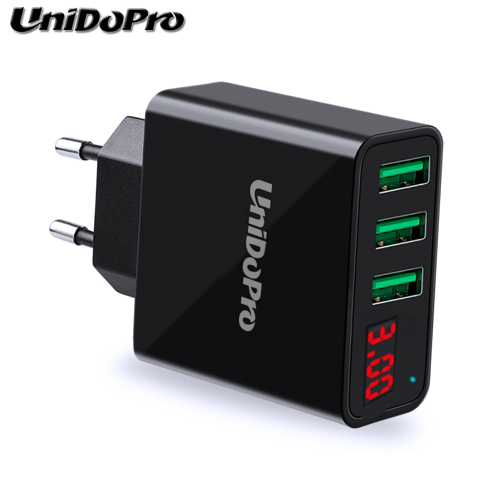 3Port USB EU Plug AC Wall Charger for iPad Air 2 Pro 9.7 10.5 /iPad Mini 4 3 2 1 Tablet 2.4A Fast Travel Chargeur w/ LED Display