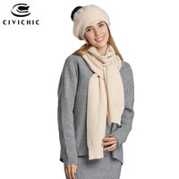 CIVICHIC High Quality Lady Winter Chic Rabbit Hair Wool Knit Scarf Hat 2 Piece Pompon Beanies Thicken Headwear Solid Shawl SH148