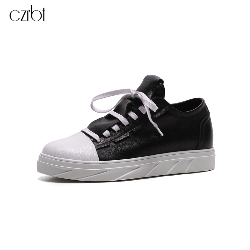 CZRBT Fashion Women Flat Shoes Genuine Cow Leather Lace-Up Woman Flat Platform Shoes White/Black Plus Size 34-43 Women Shoes hot selling black white women genuine leather shoes woman fashion hidden wedge heel lace up casual shoes size 33 40