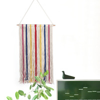 Colorful Handmade Crocheted Macrame Wall Art Hand Knotted Wall Hanging Tapestry Bohemian Room Decoration Boho Wedding Decor